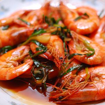 Crevettes aux gingembres et ciboulettes