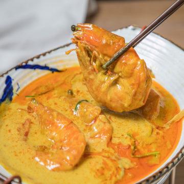 Crevettes au curry (rouge, jaune, vert)
